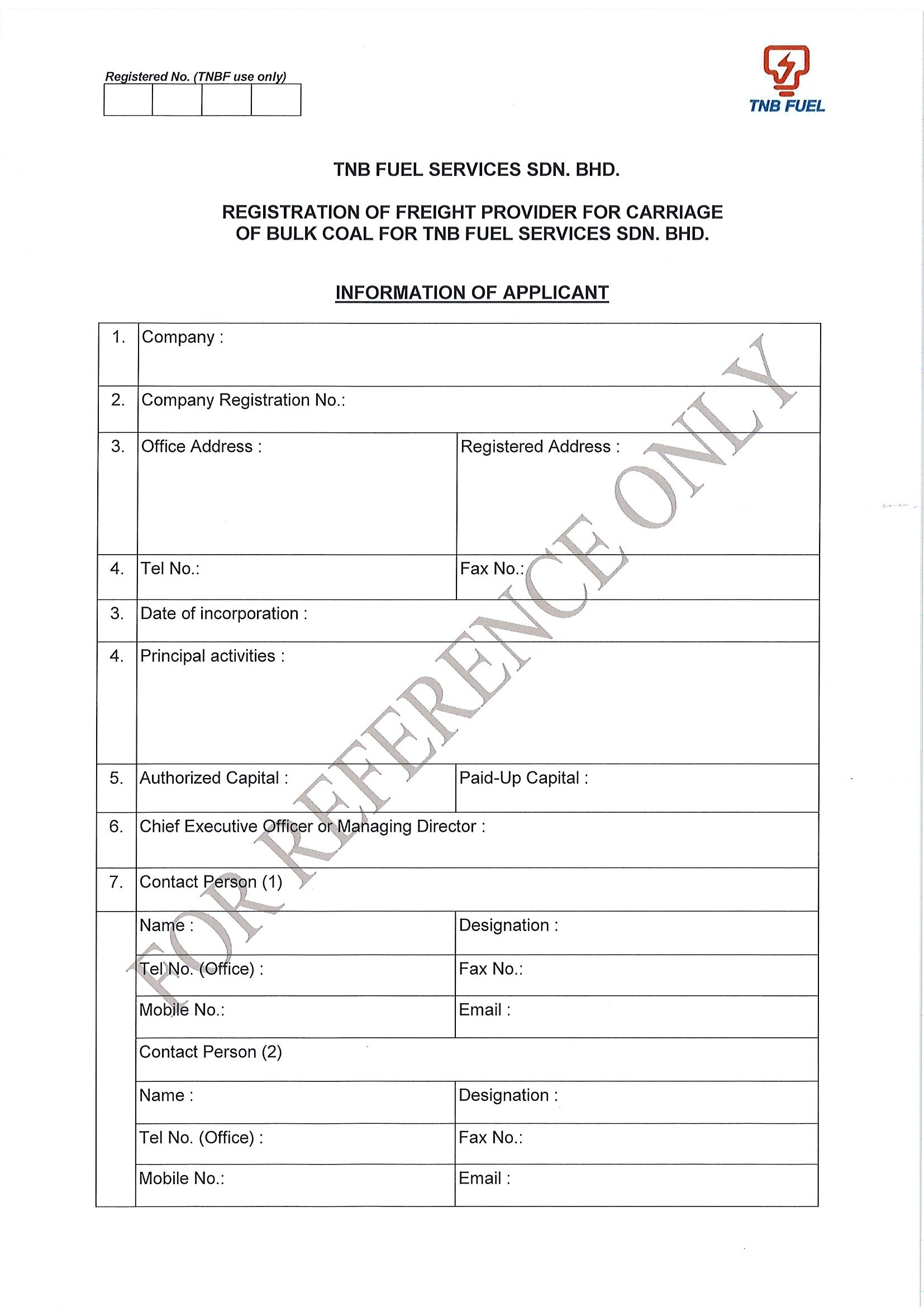 Registration of Freight Provider for Carriage of Bulk Coal for TNB Fuel Services Sdn Bhd